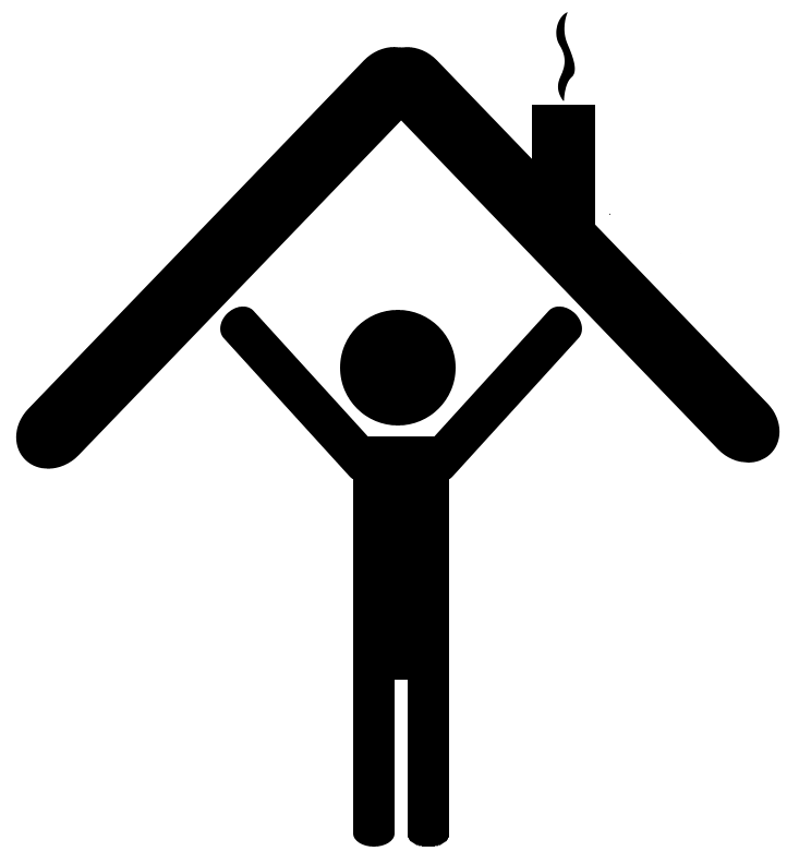 Self direction person holding house icon