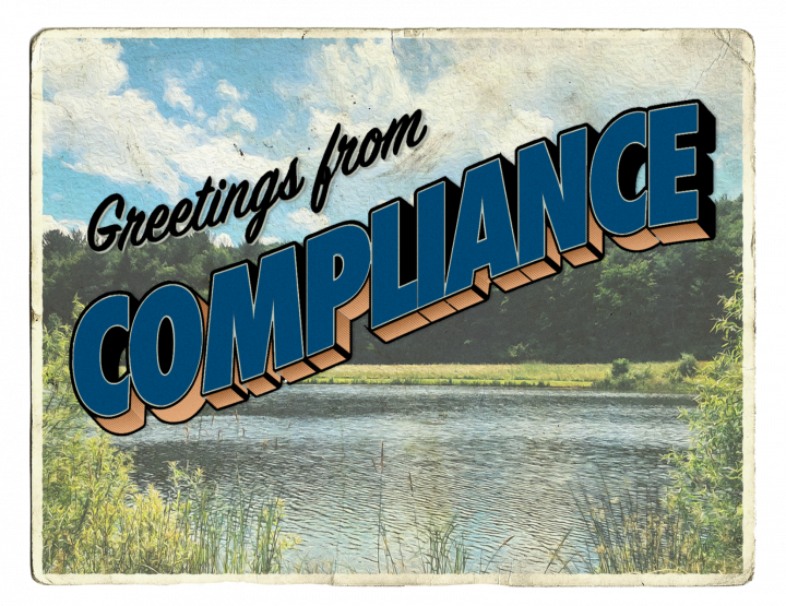 "Postcard with a lake. Words ""welcome to compliance"""